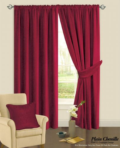 BURGUNDY WINE COLOUR PLAIN CHENILLE FABRIC PENCIL PLEAT FULLY LINED HEAVY READYMADE CURTAINS
